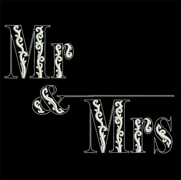 Stickdatei Hochzeit Mr Mrs Black