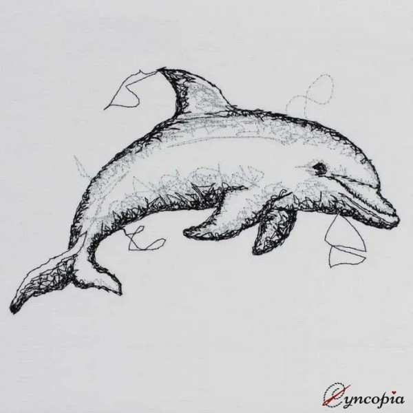Embroidery Design Dolphin Scribble