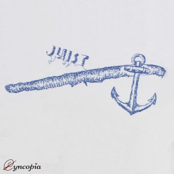 Embroidery Design Juist Anchor Scribble