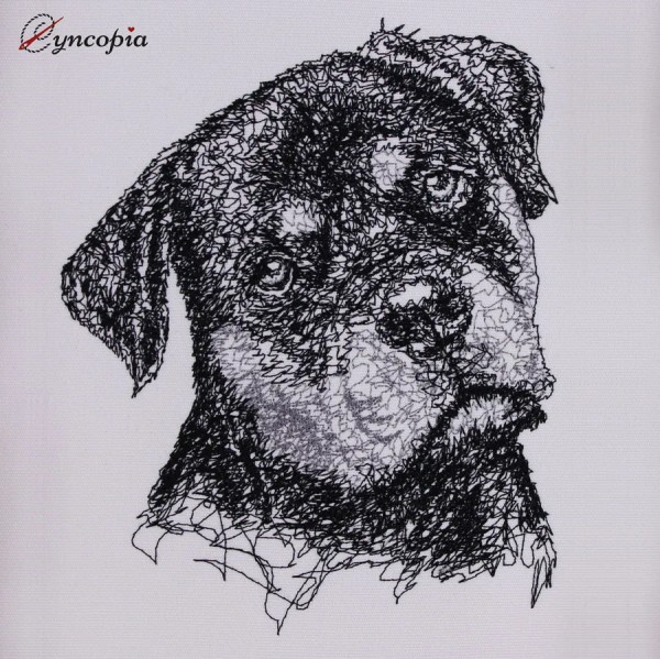 Embroidery Design Rottweiler Scribble