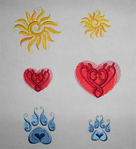 Embroidery Design Sun Heart Paw