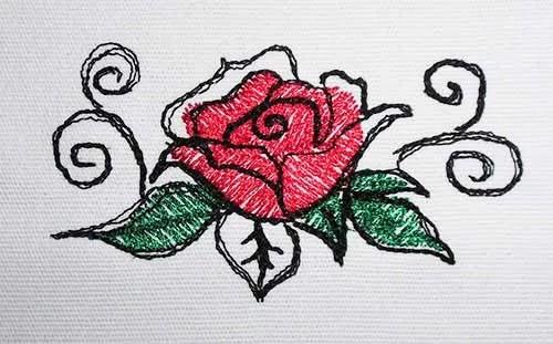 Stickdatei Rose drawn mini