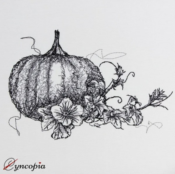 Embroidery Design Pumpkin Tendril Scribble
