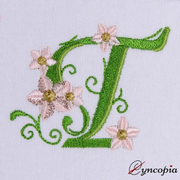 Motif de Broderie l'Alphabet des Marguerites T