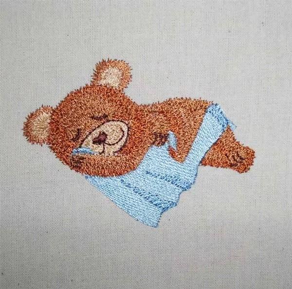 Embroidery Design Sleeping Teddy