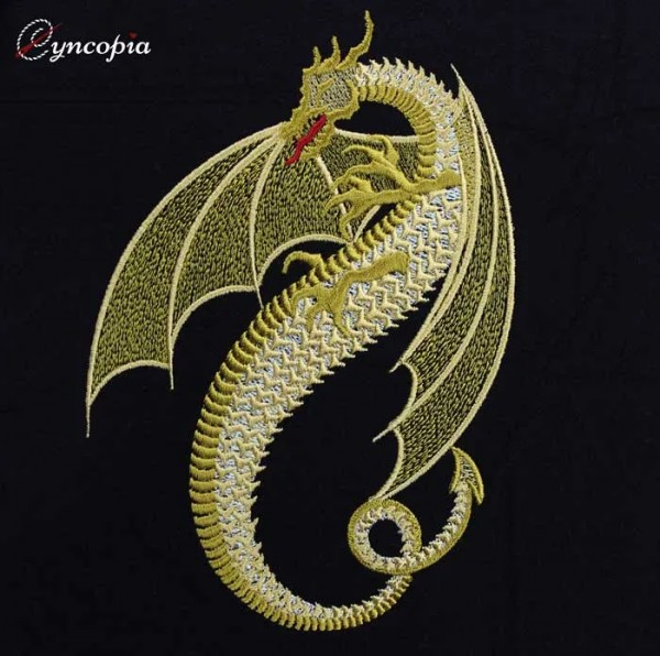 Embroidery Design Golden Dragon
