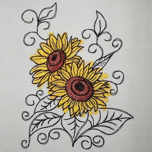 Embroidery Design Sunflower Romantic