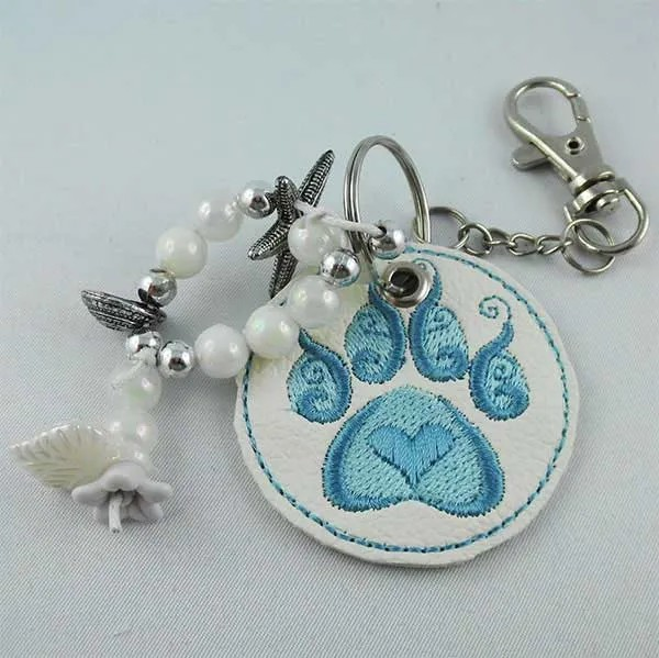Embroidery Design Paw Key Fob ITH