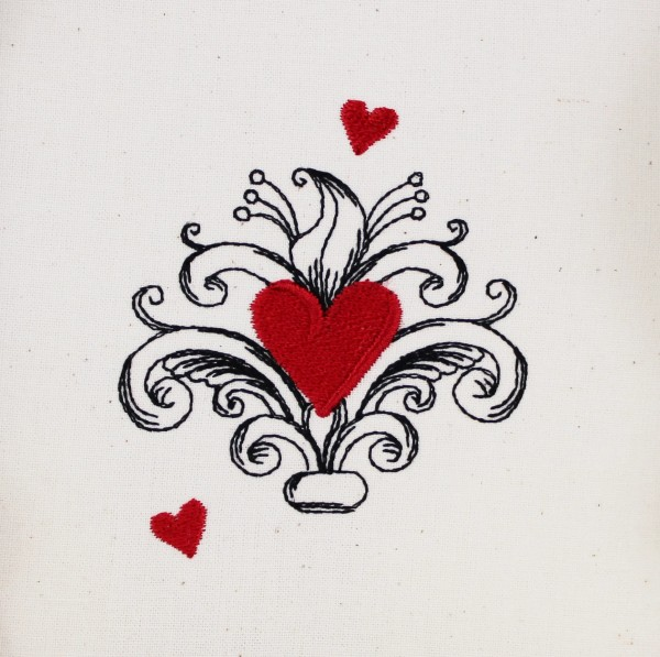 Embroidery Design Heart Baroque