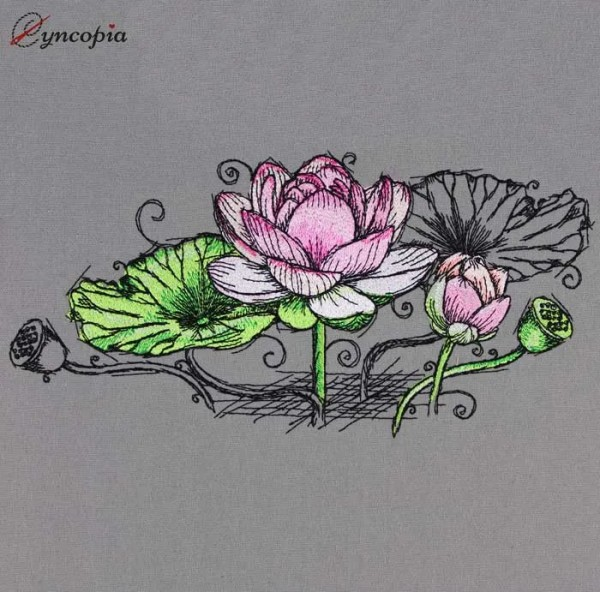Embroidery Design Lotus Flower No 6