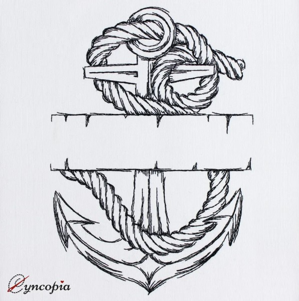 Embroidery Design Anchor with rope blanco
