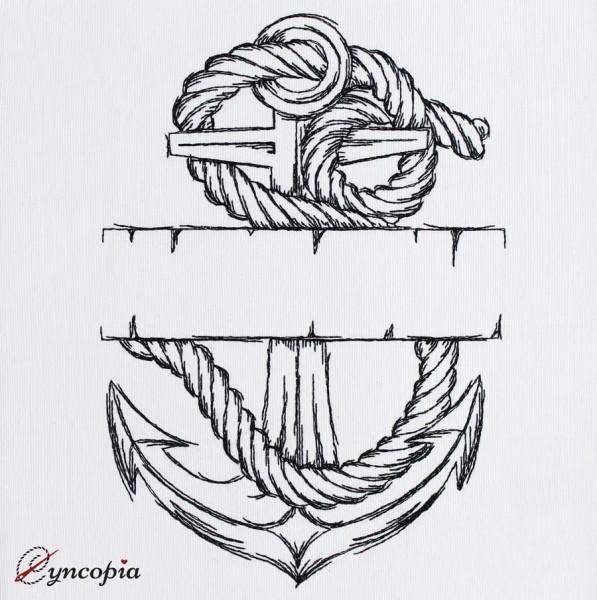 Motif de Broderie Ancre avec Corde blanco
