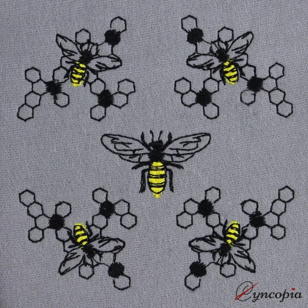 Embroidery Design Bees Honeycomb Medallion