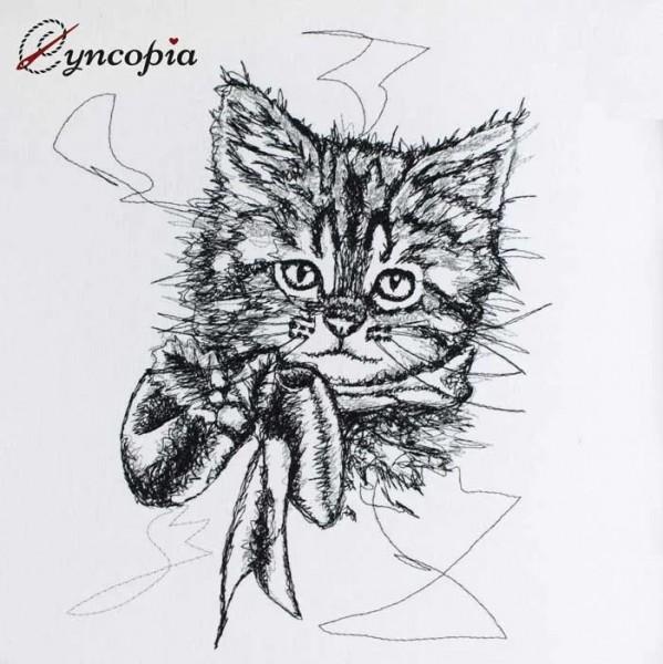 Embroidery Design Christmas Kitten scribble