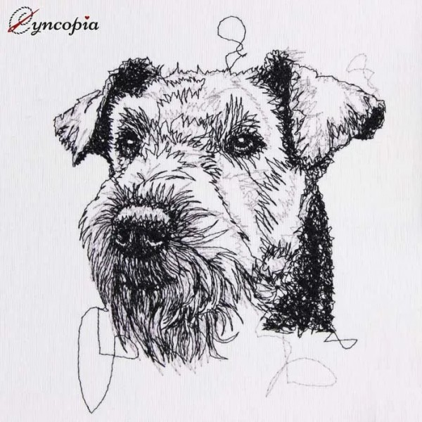 Embroidery Design Airedale Terrier Scribble
