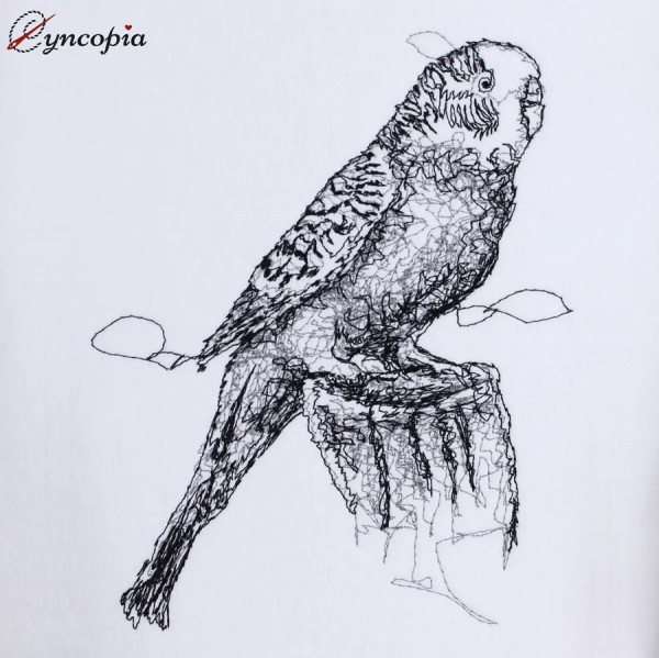 Embroidery Design Budgie Scribble