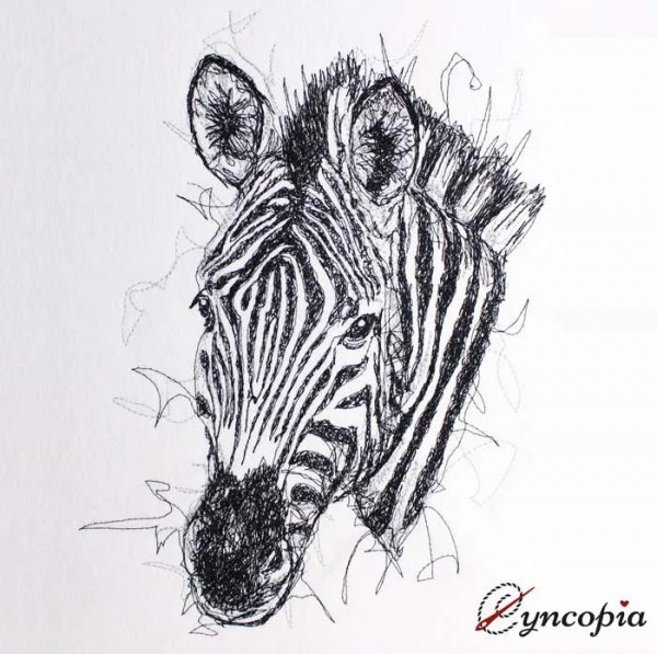 Embroidery Design Zebra Scribble