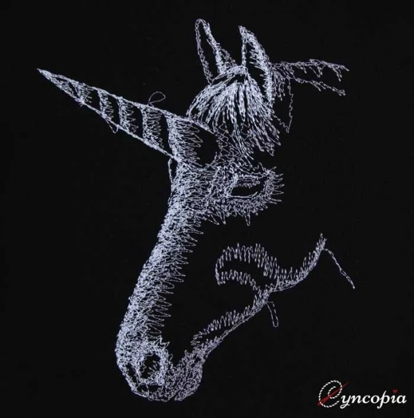 Embroidery Design Unicorn on black scribble