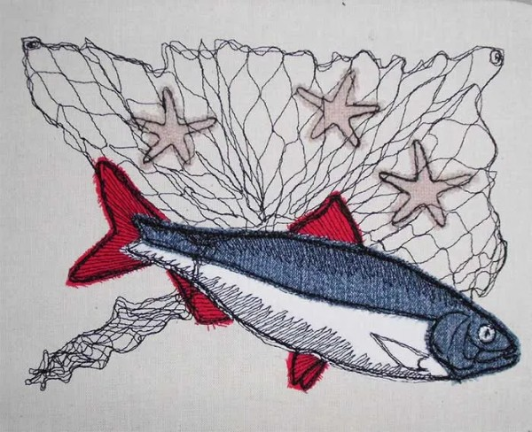 Embroidery Design Fish in net Doodle