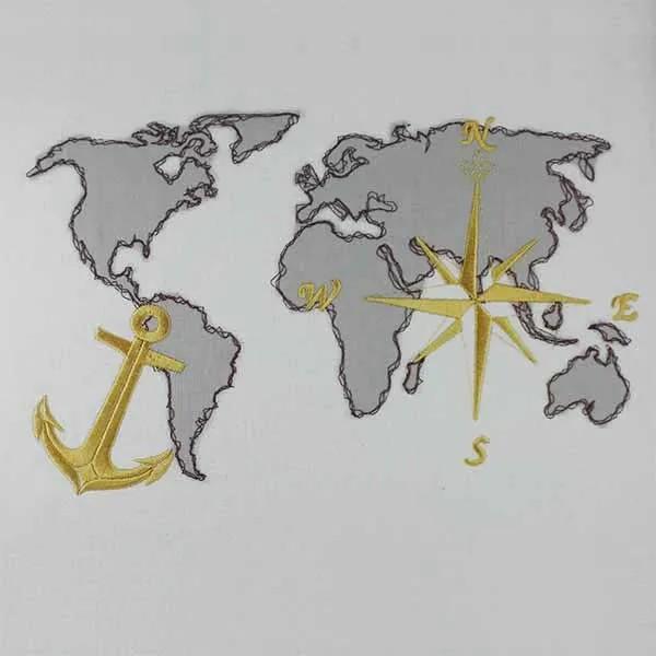 Maritime Weltkarte Doodle