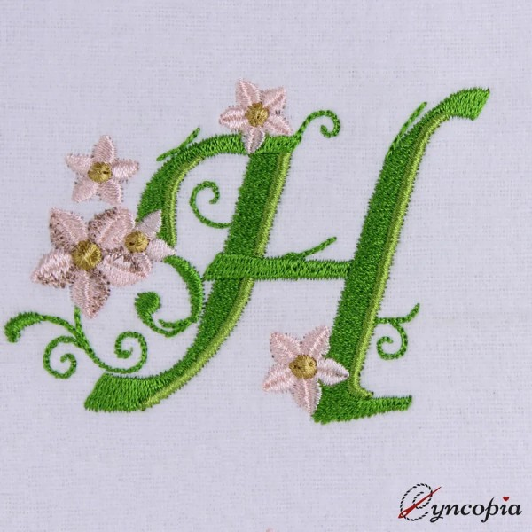 Embroidery Design Marguerites Alphabeth H