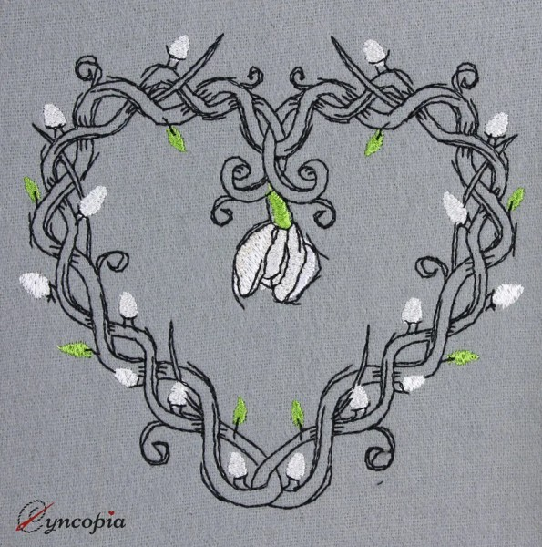 Embroidery Design Heart Tendril Snowdrop romantic