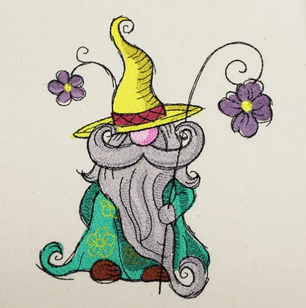 Embroidery Design Spring Gnome