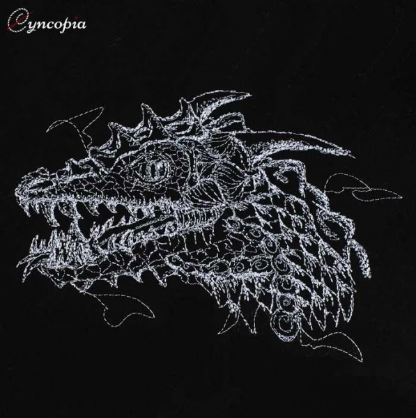Embroidery Design Dragonhead on black scribble