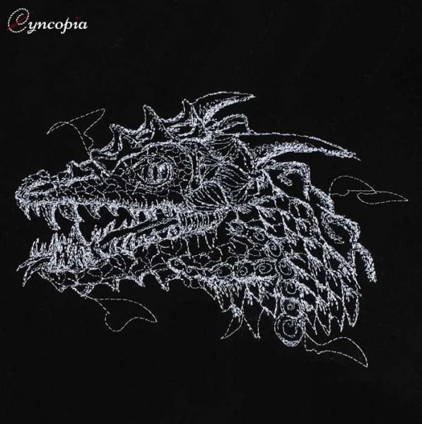 Fichier Broderie Tête de Dragon sur fond noir scribble