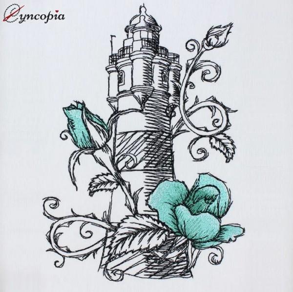 Stickdatei Leuchtturm Rose Romantic