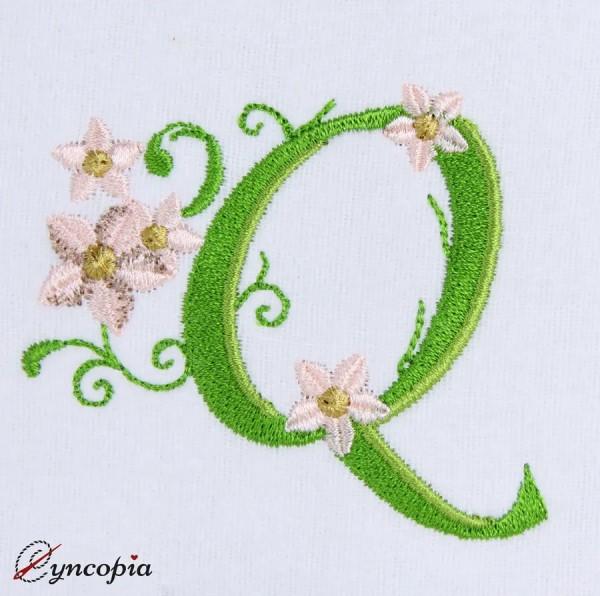 Motif de Broderie l'Alphabet des Marguerites Q
