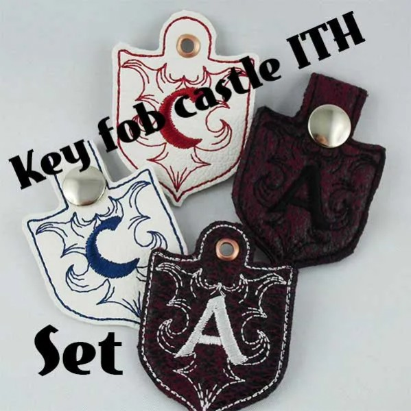 Embroidery Design Castle Monogram Key Fob ITH Set
