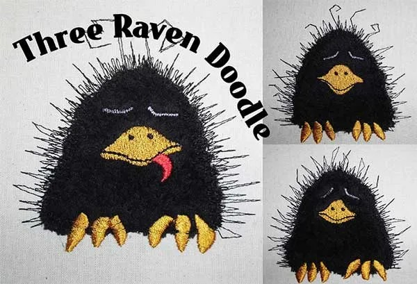 Embroidery Design Three Raven Doodle