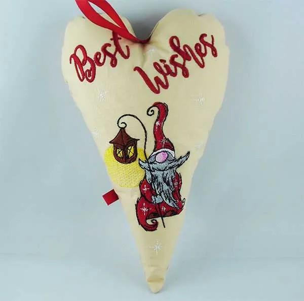Embroidery Design Heart X-Mas Gnome Lantern ITH