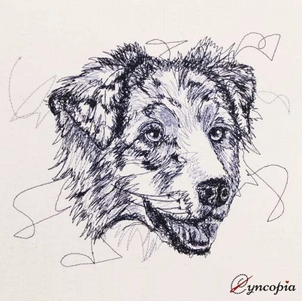 Embroidery Design Australian Shepherd scribble