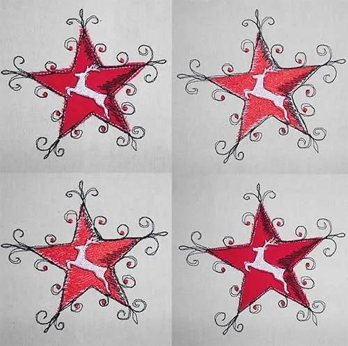 Embroidery Design Reindeer Stars Set