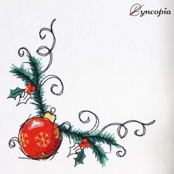 Embroidery Design Christmas Ball Corner