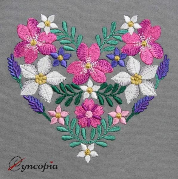 Stickdatei Blumen Ornament kleines Herz