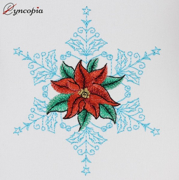 Embroidery Design Christmas Star Poinsettia No 2