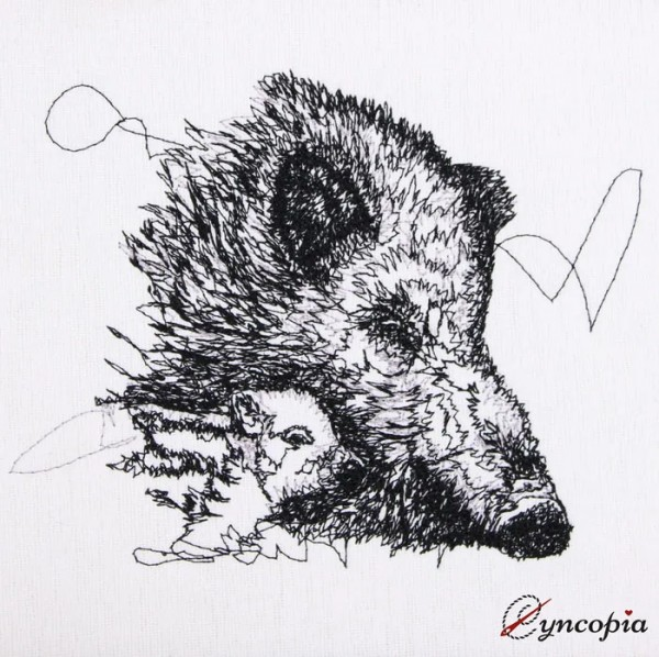 Embroidery Design Wild Boar Sow scribble