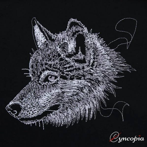 Embroidery Design Wolf on black scribble
