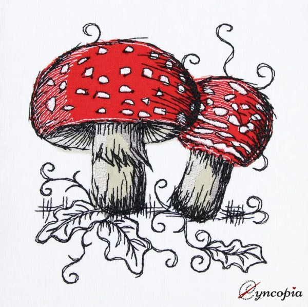 Embroidery Design Toadstool romantic doodle