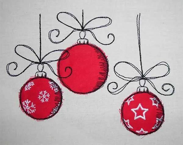 Embroidery Design Christmas Balls Doodle Set