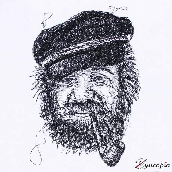 Embroidery Design Fisherman Fiete scribble