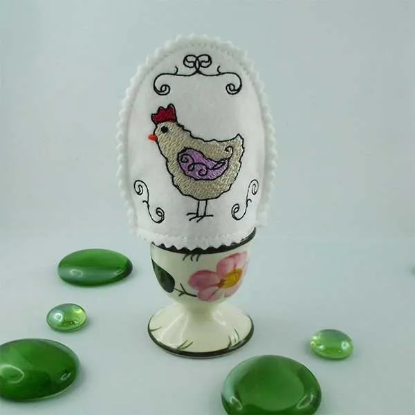 Embroidery Design Hen Scribble Egg Warmer ITH