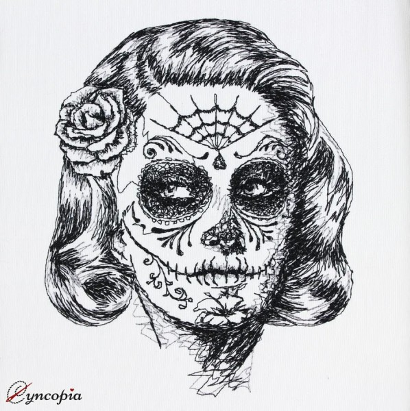 Embroidery Design La Catrina Scribble