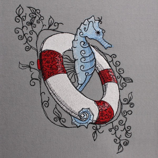 Embroidery Design Lifebelt Seahorse