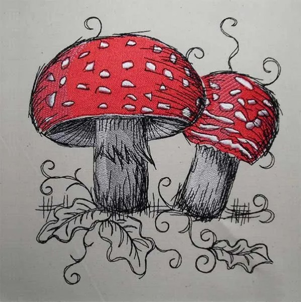 Embroidery Design Toadstool Romantic