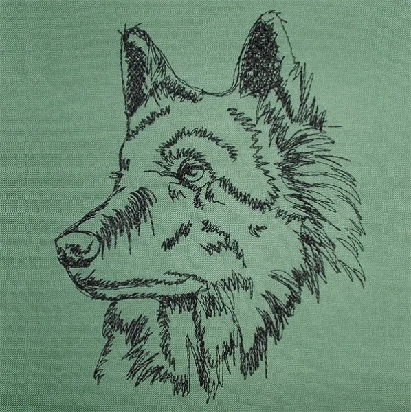 Embroidery Design German Shepherd scribble