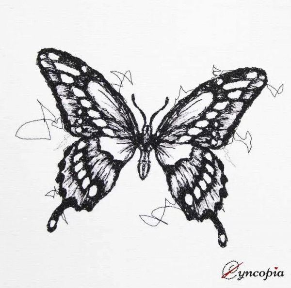 Embroidery Design Butterfly Scribble Black